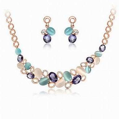 Fashion Alloy Opal With Czekh Crystal Shining Necklace Earrings Jewelry Set For Women