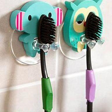 ahşap sevimli karikatür hayvan diş fırçası tutucu vantuz banyo kanca setleri