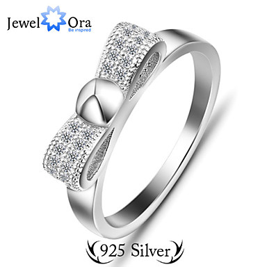 Genuine 925 Sterling Silver Rinsg para Lady moda Lady Bowknot Infinity Ring