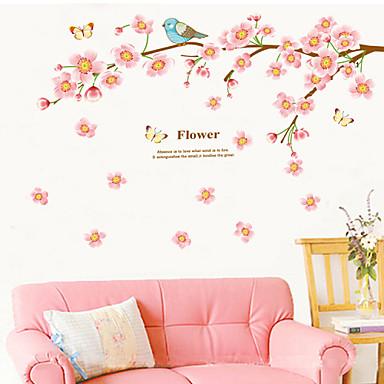 Dyr Romantik Blomster Veggklistremerker Fly vægklistermærker Dekorative Mur Klistermærker, Vinyl Hjem Dekor Veggoverføringsbilde Vegg