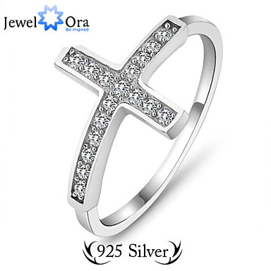 Women's Ring - Sterling Silver, Silver Cross Fashion Silver For Daily