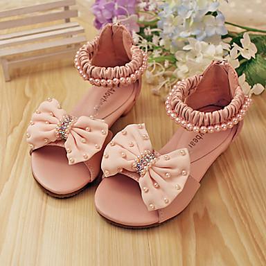 Девочки обувь Кожа Весна Лето Удобная обувь Сандалии Бант Жемчуг Молнии для Свадьба Повседневные Для вечеринки / ужина Для праздника
