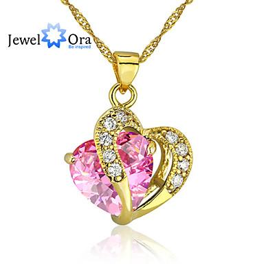 abordables Collier-Zircon Rose Doré Cœur Rose Colliers Tendance Bijoux pour Mariage Soirée Occasion spéciale Cadeau Casual Quotidien