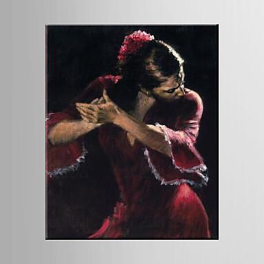 Pintura a Óleo Pintados à mão - Pessoas Estilo Europeu / Modern Tela de pintura