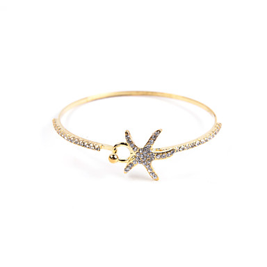 Γυναικεία Βραχιόλια Προσαρμόσιμη Ανοικτό κοσμήματα πολυτελείας Ακρυλικό Στρας απομίμηση διαμαντιών Κράμα Star Shape Ασημί Χρυσαφί