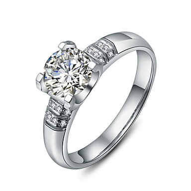 Anéis Mulheres Strass Prata / Pedaço de Platina Prata / Pedaço de Platina 4.0 / 5 / 6 / 7 / 8 / 8½ / 9 / 9½ PrataRepresentação de estilo