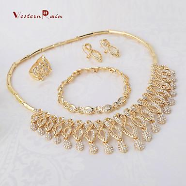 WesternRain Gold Plated Fashion Charm Rhinestone Jewelry Women Gift Party wedding Jewelry Sets