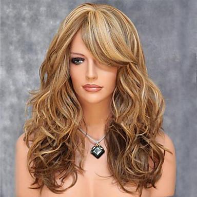 Synthetische Perücken Große Wellen Blond Mit Pony Synthetische Haare Strähnchen / Balayage-Technik / Seitenteil Blond Perücke Damen Mittlerer Länge Kappenlos Braun