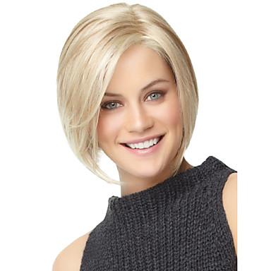 hesapli Güzellik ve Saç-Sentetik Peruklar Düz Stil Bob Saç Kesimi Bonesiz Peruk Sentetik Saç Kadın's Patlama ile Peruk StrongBeauty Cadılar Bayramı Peruk