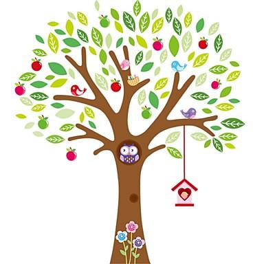 çocuk odası için renkli ağaç duvar sticker oynayan baykuş dekoratif çıkarılabilir pvc duvar çıkartma zooyoo7223