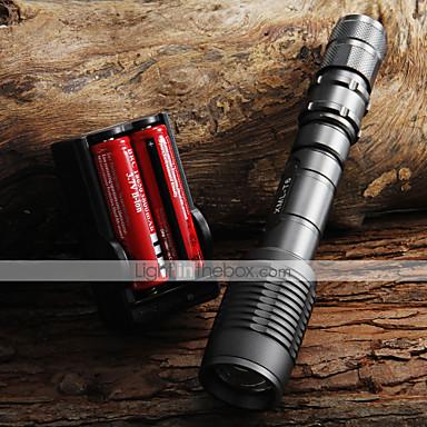 UltraFire Lanterne LED LED 2000 lm 5 Mod LED cu Baterii și Încărcătoare Zoomable Focalizare Ajustabilă Camping/Cățărare/Speologie