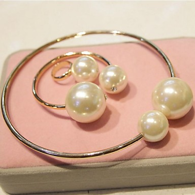 Women's Jewelry Set Pearl Imitation Pearl Alloy Circle Cuff Vintage Bracelet Ring Costume Jewelry