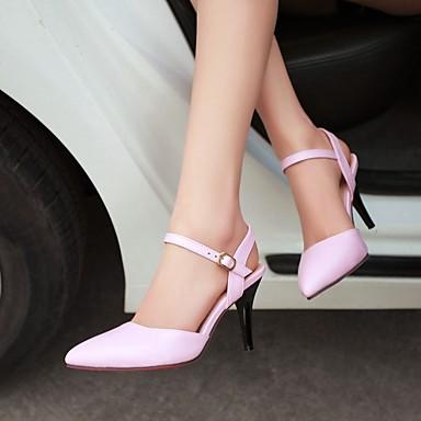 여성 구두 레더렛 봄 여름 가을 스틸레토 굽 캐쥬얼 드레스 용 스플리트 조인트 블랙 베이지 핑크