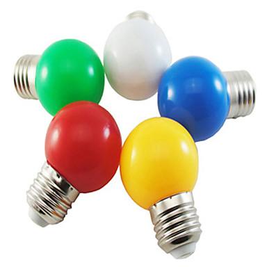 billige Elpærer-5 stk. Farget e27 1w energibesparende 6 ledet pærer globe lampe diy hvit grønn gul blå rød farge lyse ac220-240v