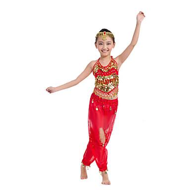 밸리 댄스 의상 성능 폴리에스테르 쉬폰 스팽글 동전 민소매 내츄럴 탑 팬츠 밸리댄스 히프 스카프