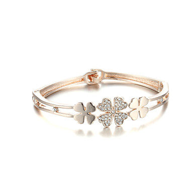 Sjewelry Girls Fashion Four Leaf Clover Plating Rose Gold Bracelet