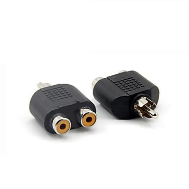 RCA macho para RCA fêmea entrada y adaptador de áudio divisor duplo