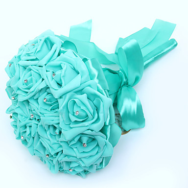 Λουλούδια Γάμου Μπουκέτα Γάμου Πάρτι / Βράδυ Κρύσταλλο Στρας Σατέν Αφρός 11,02