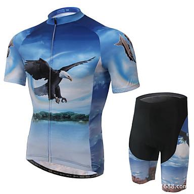 Maillot et Cuissard de Cyclisme Homme Manches courtes VéloRespirable Perméabilité à l'humidité Anti-transpiration Bandes Réfléchissantes