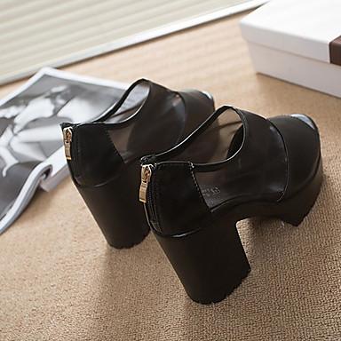 Черный Белый-Женский-Для прогулок Для офиса Для праздника-Кожа-На толстом каблуке На платформе-На платформе Удобная обувь