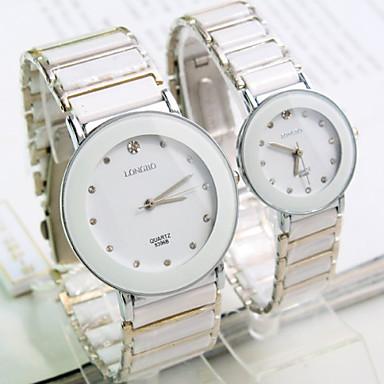Мужской / Женские / Для пары Модные часы Кварцевый Керамика Группа Блестящие Белый бренд-