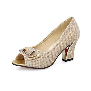 Mulheres Sapatos Courino Primavera Verão Conforto Saltos Caminhada Salto Robusto Dedo Aberto Presilha para Casual Social Dourado Prata