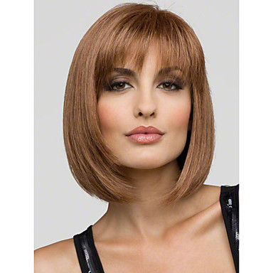 Human Hair Capless Wigs Human Hair Straight Bob With Bangs Short Capless Wig Women's