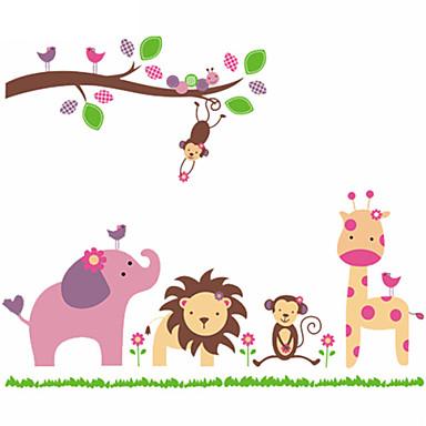 καμηλοπάρδαλη μαϊμού αυτοκόλλητα λιοντάρι ελέφαντας ζώο ζωολογικό κήπο τοίχου για παιδικά δωμάτια zooyoo869 PVC αυτοκόλλητα τοίχου