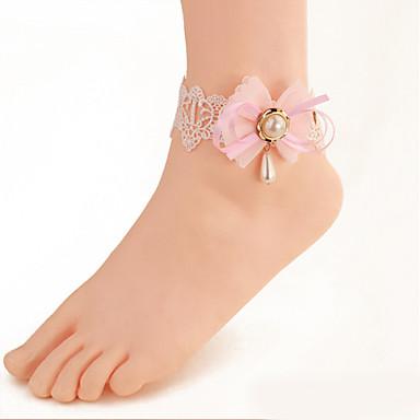Femme Bracelet de cheville / Bracelet Perle Imitation de perle Zircon Dentelle Tissu Rétro Soirée Décontracté Sexy Forme de Noeud Bijoux