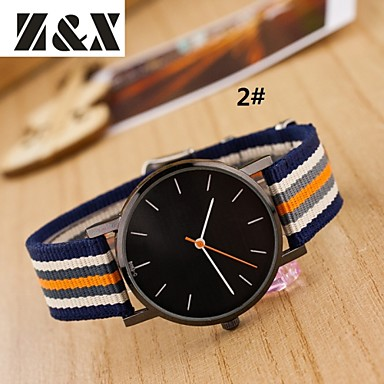 Women's Quartz Wrist Watch Hot Sale Nylon Band Fashion Stripes Multi-Colored