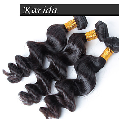 3pcs/Lot Loose Wave Brazilian Human Hair Wet and Wavy Weave Natural Color Hair