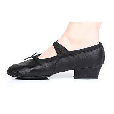 Dame Ballettsko Lær / Kunstlær Høye hæler Tykk hæl Kan spesialtilpasses Dansesko Svart / Rød / Innendørs / Trening / Profesjonell