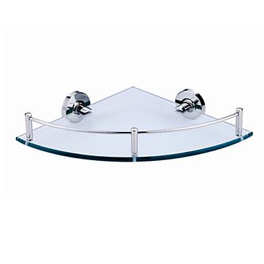 ανοξείδωτο χαλύβδινο σύρμα βραχίονα σχεδίασης μπάνιο γυαλί γωνία ράφι - ασημί + διαφανές