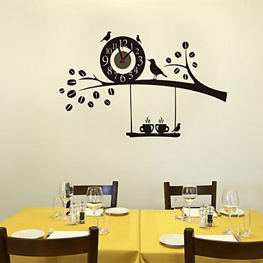 1 db fekete diy madarak a fa falióra otthoni fal dekoráció