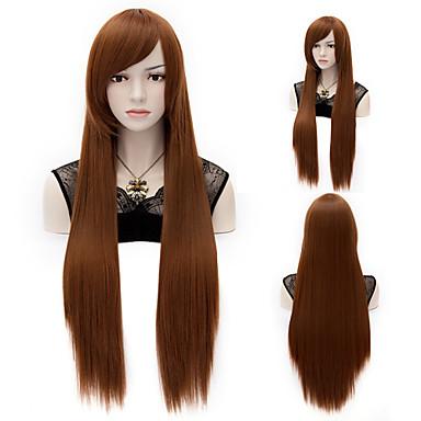 Syntetiske parykker Rett Syntetisk hår Parykk Lokkløs