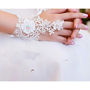 Lace / Cotton Wrist Length Glove Charm / Stylish / Bridal Gloves With Embroidery / Solid