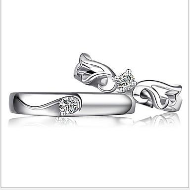 Naisten Tyylikkäät sormukset , Klassinen Säädettävä Sterling-hopea Prinsessa Korut Häät Party Juhlat