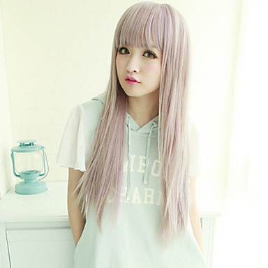Syntetiske parykker Rett Asymmetrisk frisyre Syntetisk hår Naturlig hårlinje Lilla Parykk Dame Lang Cosplay-parykk Lokkløs Halloween /