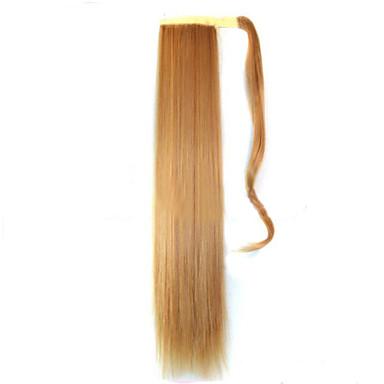 Beige-Blond (# 22) Synthetik Pferdeschwanz Gerade Micro Ring Hair Extensions Pferdeschwanz 22inch Gramm Medium (90g-120g) Menge