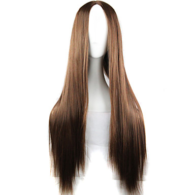 Syntetiske parykker / Kostymeparykker Rett Asymmetrisk frisyre Syntetisk hår Naturlig hårlinje Brun Parykk Dame Lang Lokkløs Brun