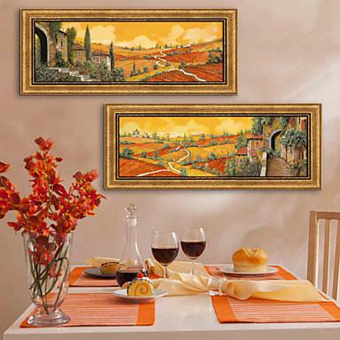 Landscape Bekeretezett vászon / Bekeretezett szett Wall Art,PVC Bézs Háttéranyag nélkül a Frame Wall Art