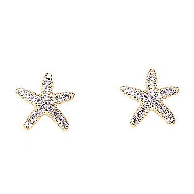 New Sweet Lovely Ocean Starfish Shiny Diamond Earrings Elegant Style