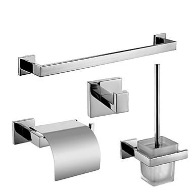 Fürdőszoba tartozék szett Kortárs Rozsdamentes acél 4db - Hotel fürdő WC kefetartó torony Robe Hook Toilet Paper Holders