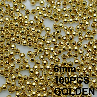 N135 100pcs/lot 6mm Gold Nail Art Metal Sticker Round Metal Rhinestones Smooth with Hole 3D Nail Art Phone Decor
