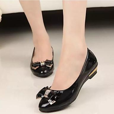 Kadın's Ayakkabı Patentli Deri Bahar Yaz Rahat Düşük Topuk Günlük için Fiyonk Siyah Bej Mor Yeşil Pembe