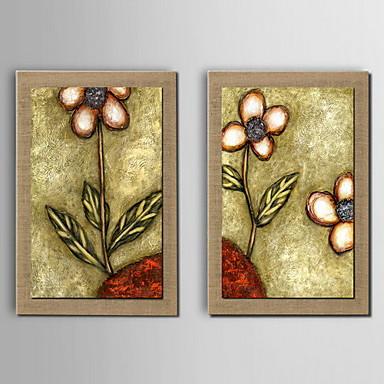 olajfestmény dekoráció virág kézzel festett természetes vászon feszített keretes - készlet 2
