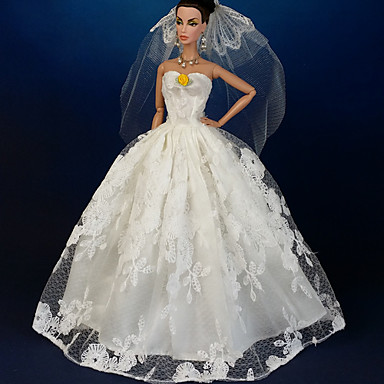 Wedding Dresses For Barbie Doll Lace Organza Dress For Girl's Doll Toy