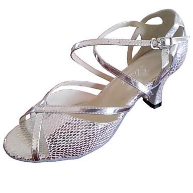Γυναικείο Λάτιν Σάλσα Τυπικά Παπούτσια Δέρμα Πέδιλα Εξάσκηση Για αρχάριους Επαγγελματική Για εσωτερικούς χώρους Προσαρμοσμένο τακούνι