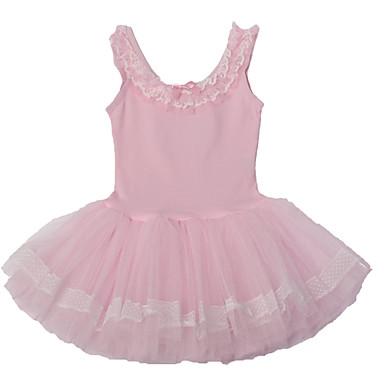 발레 드레스 아동용 공연 면 스판덱스 레이스 케스케이딩 주름 1개 민소매 드레스