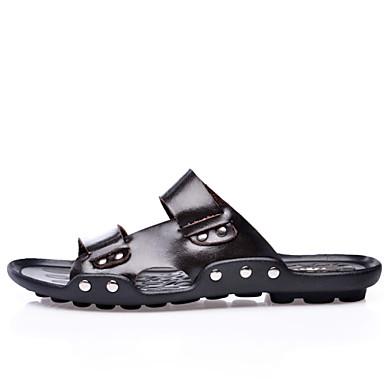 Men's Shoes Leather Light Soles Slingback Sandals Rivet for Casual Outdoor Black Brown